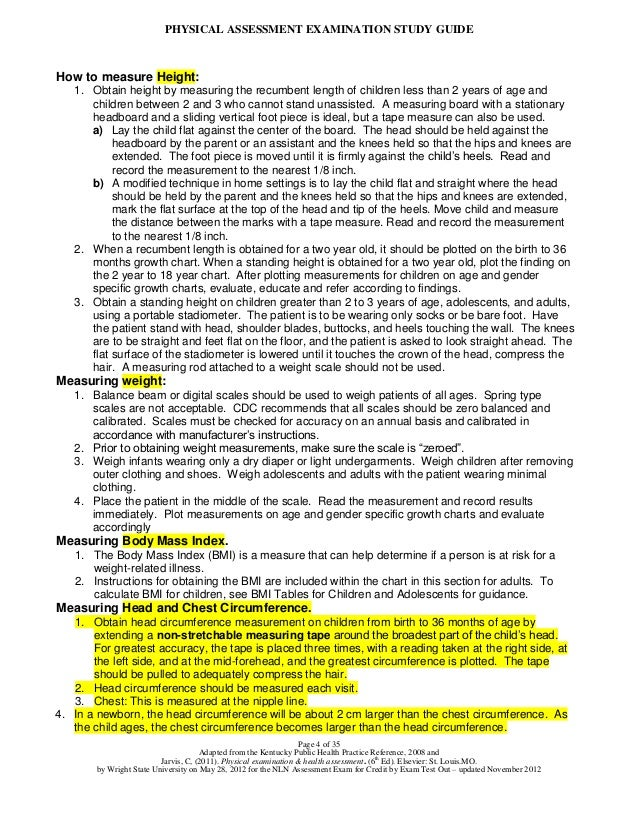 Physical Assessment Exam Study Guide