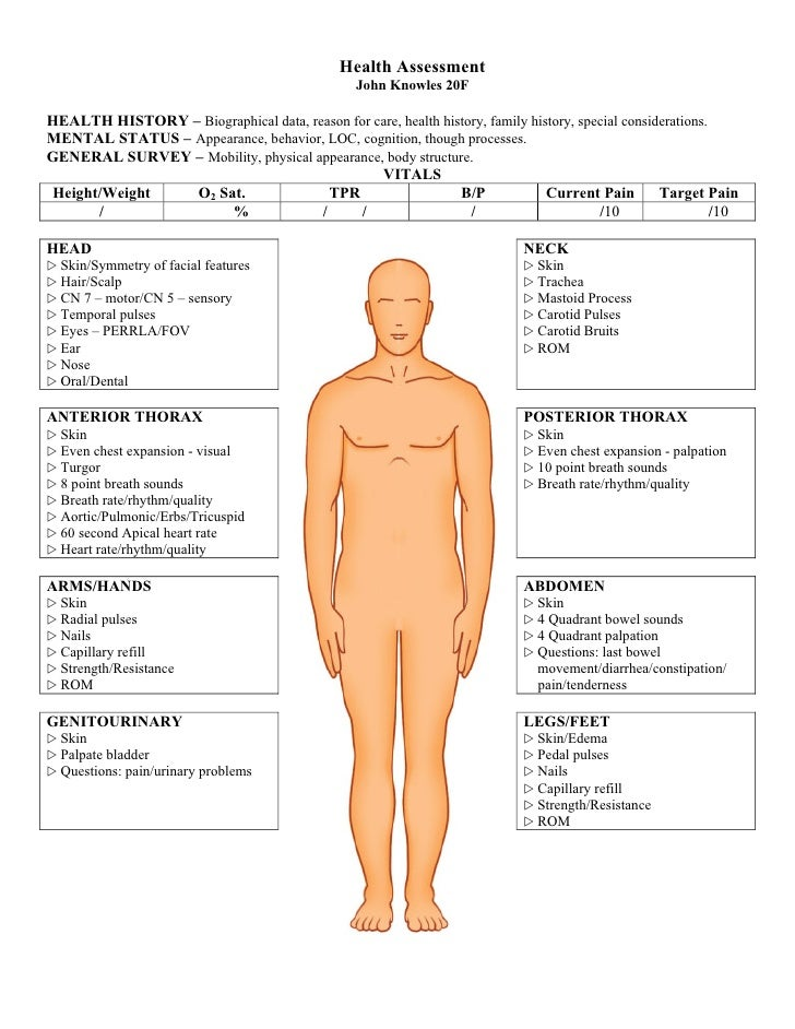 Physical Exam Template Form Complete Physical Exam Template Parts