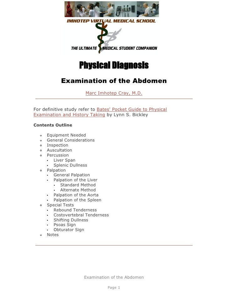 Physical Diagnosis            Examination of the Abdomen                       Marc Imhotep Cray, M.D.For definitive study...