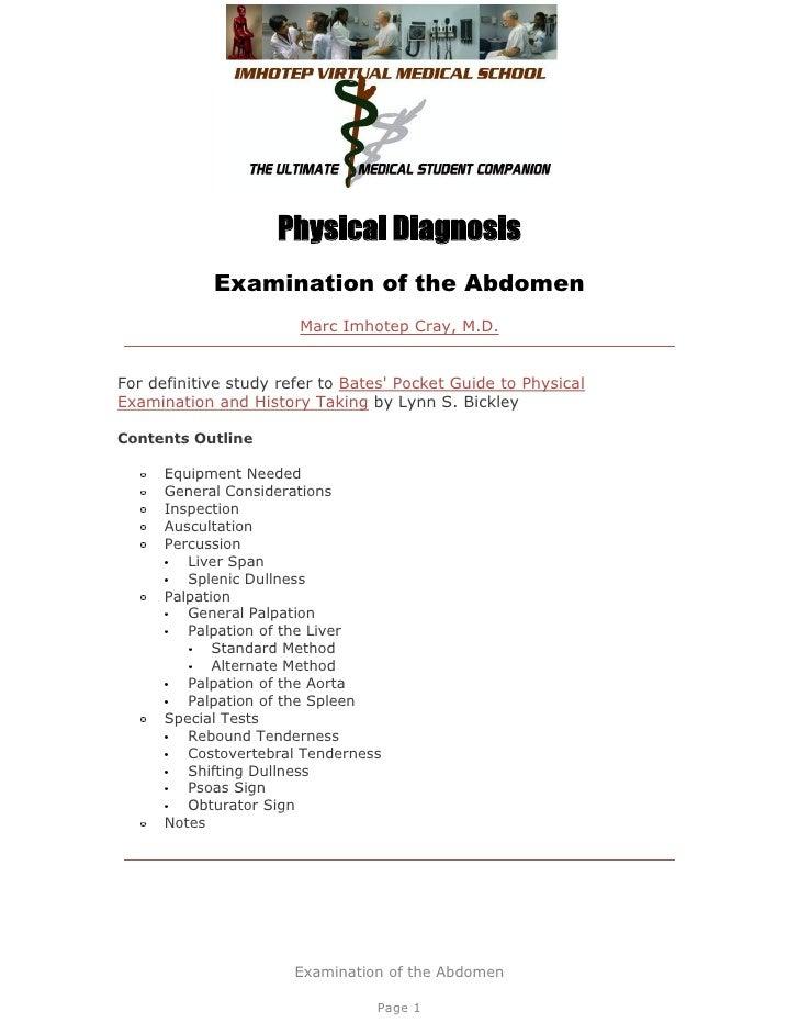 IVMS ICM-Physical diagnosis-  Abdominal Exam
