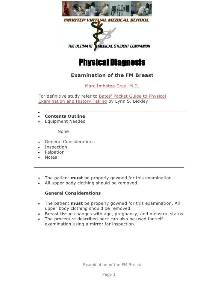 Physical Diagnosis                Examination of the FM Breast                      Marc Imhotep Cray, M.D.For definitive ...