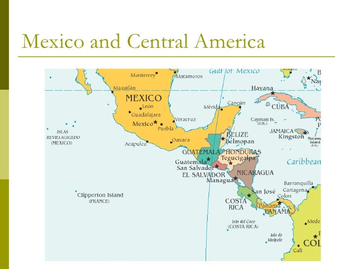 Physical Map Of Mexico Central America And The Caribbean