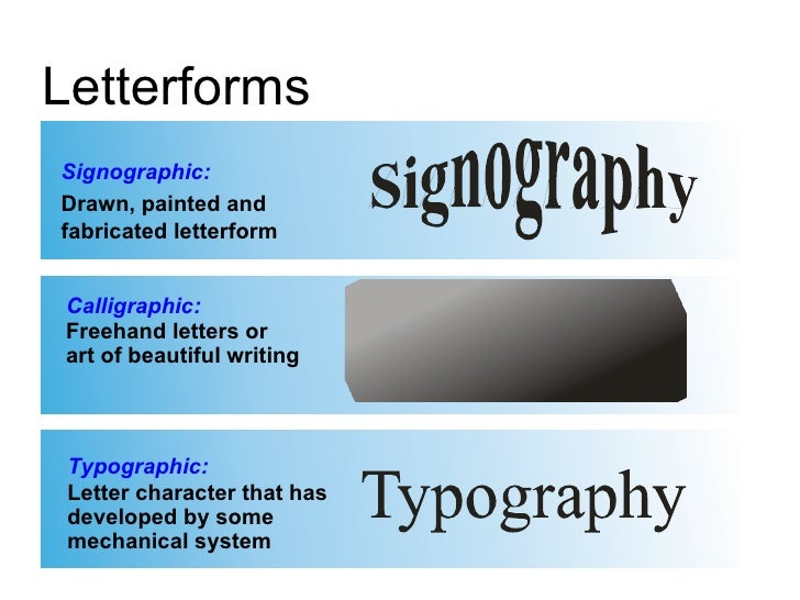 Signographic: Drawn, painted and fabricated letterform Calligraphic: Freehand letters or  art of beautiful writing Typogra...