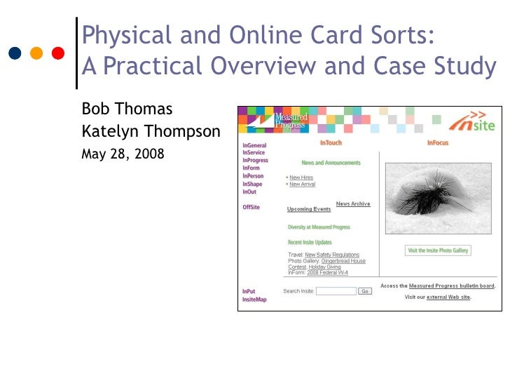 Physical and Online Card Sorts:A Practical Overview and Case StudyBob ThomasKatelyn ThompsonMay 28, 2008