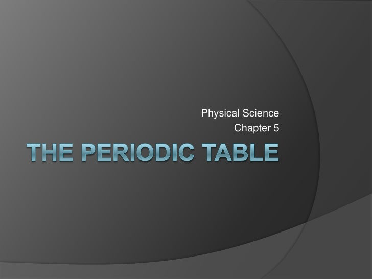 Physical Science 5.1 : Arranging the Elements