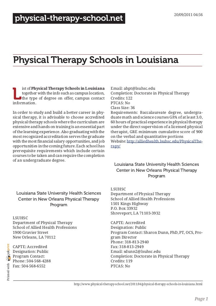 Physical therapy schools in louisiana