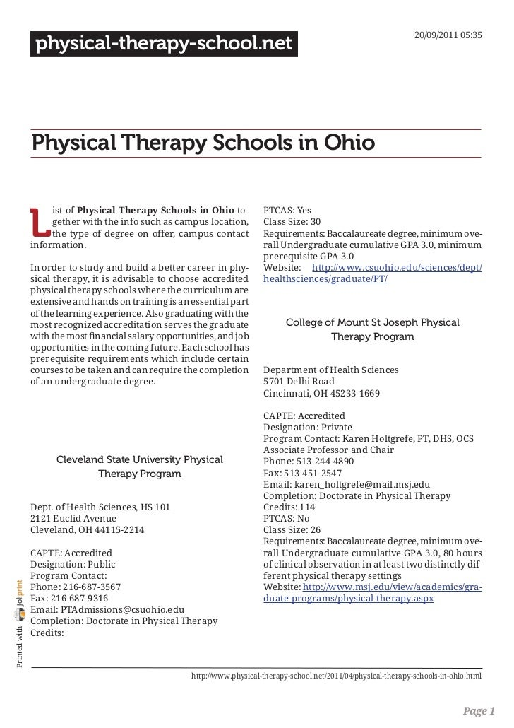 Physical therapy schools in ohio