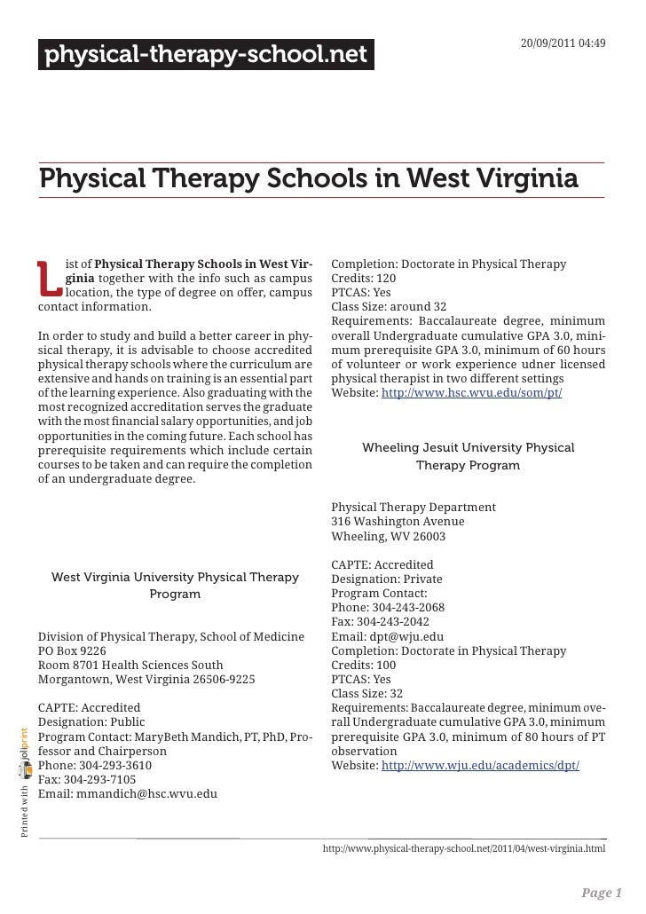 Physical therapy schools in west virginia
