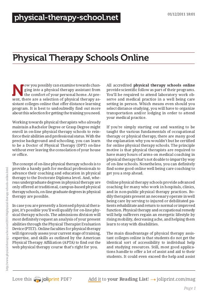 Physical therapy schools online