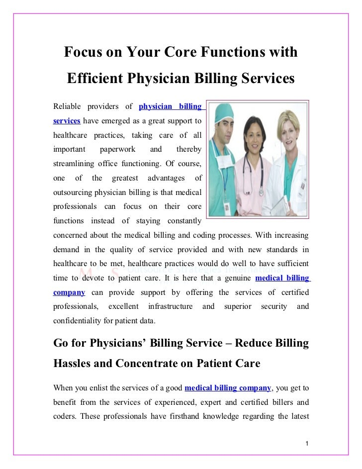 Focus on Your Core Functions with Efficient Physician Billing Services