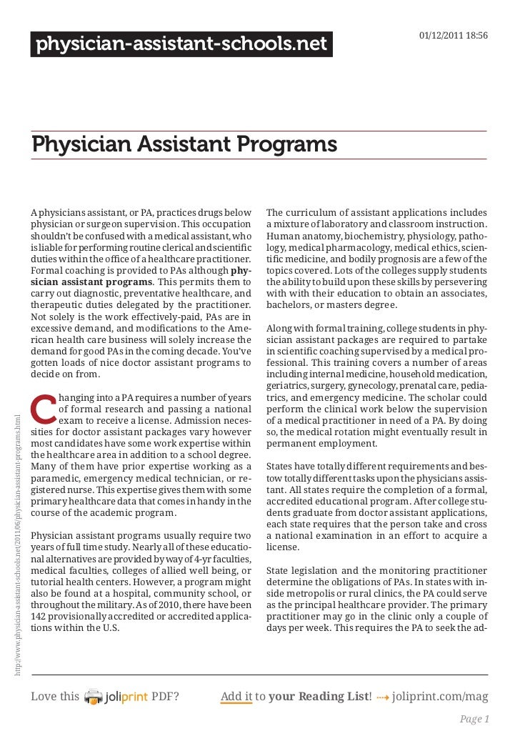 Physician assistant programs