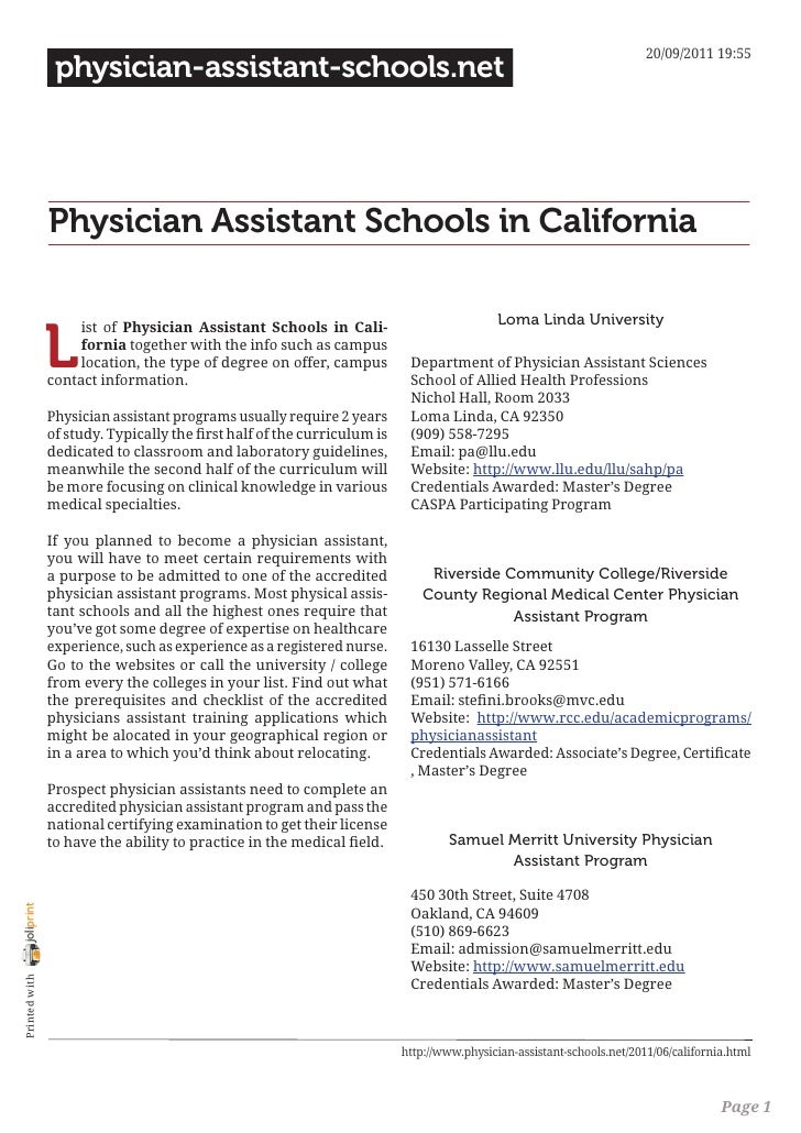 Physician assistant in california?