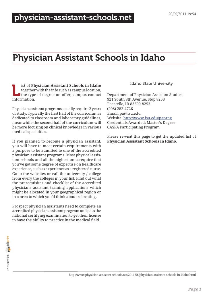 Physician assistant schools in idaho