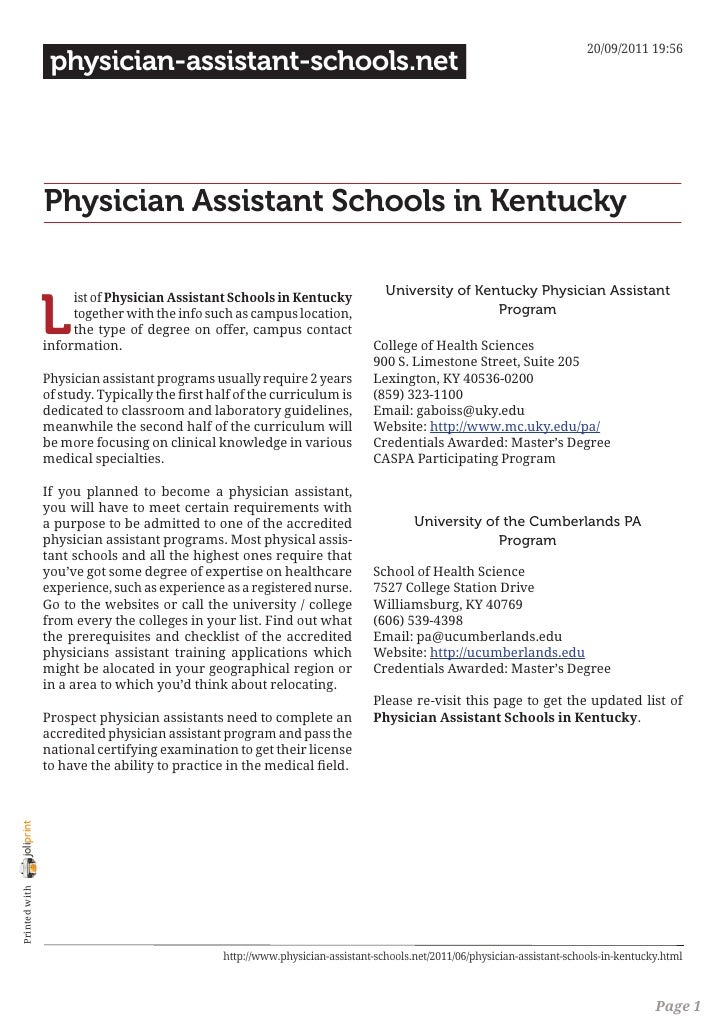 20/09/2011 19:56                 physician-assistant-schools.net                Physician Assistant Schools in Kentucky   ...