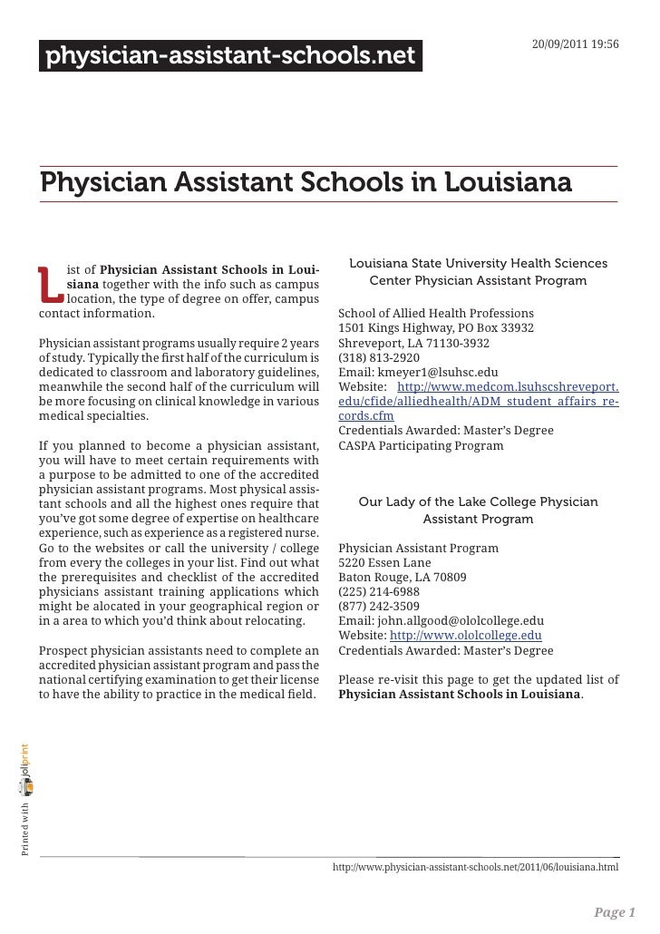 20/09/2011 19:56                 physician-assistant-schools.net                Physician Assistant Schools in Louisiana  ...
