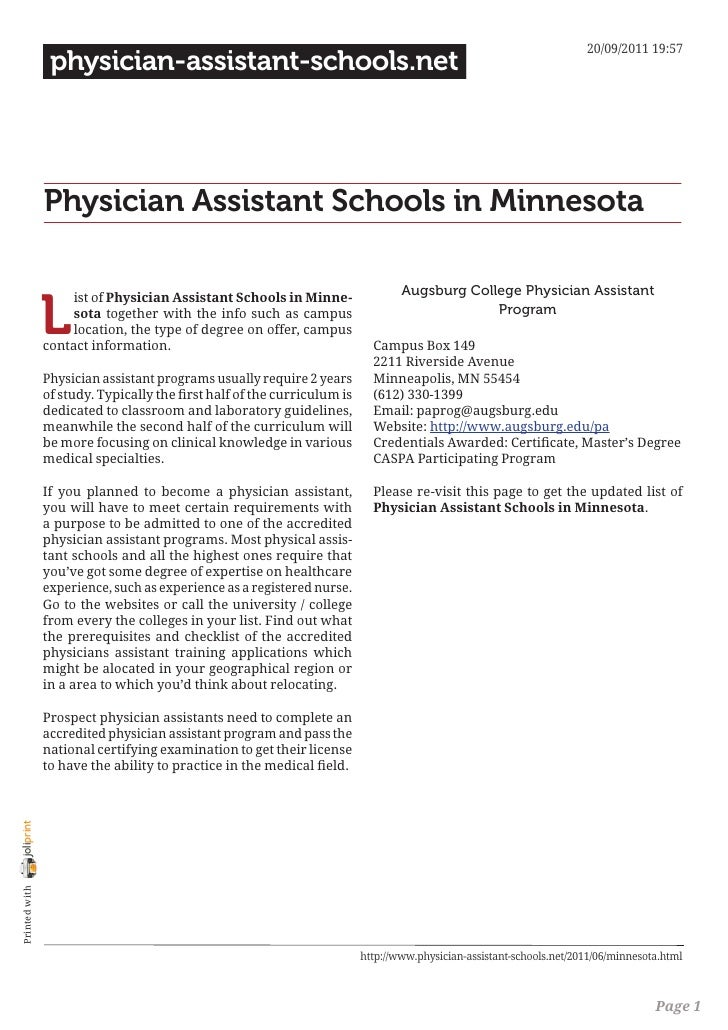 Physician assistant schools in minnesota