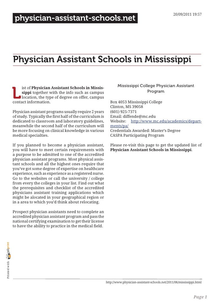 Physician assistant schools in mississippi