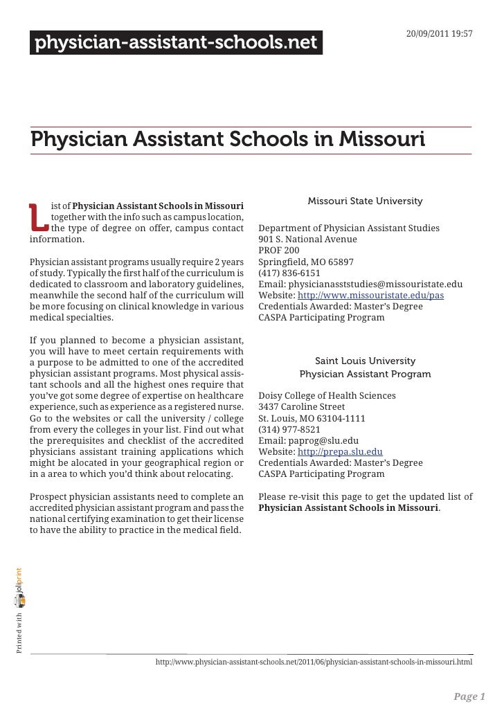 Physician assistant schools in missouri