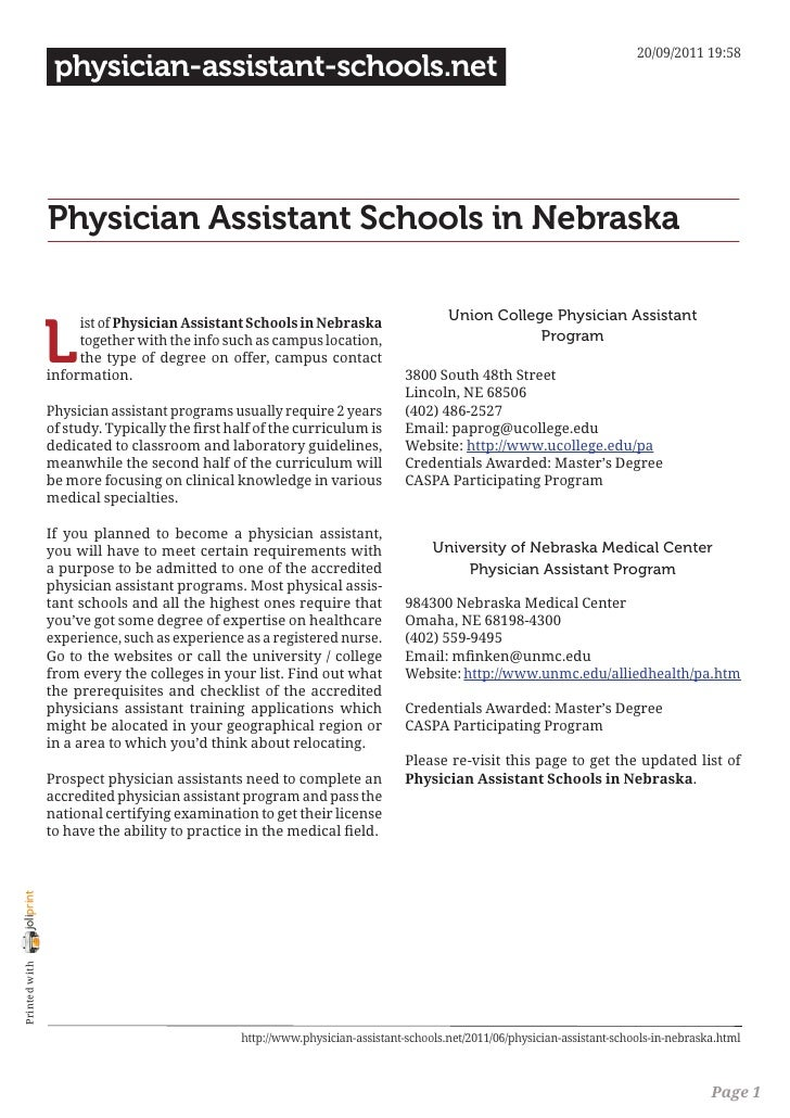 Physician assistant schools in nebraska