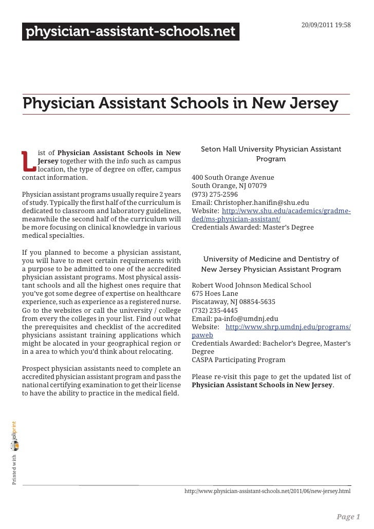 20/09/2011 19:58                 physician-assistant-schools.net                Physician Assistant Schools in New Jersey ...