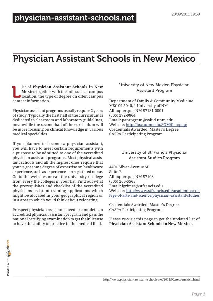 20/09/2011 19:59                 physician-assistant-schools.net                Physician Assistant Schools in New Mexico ...