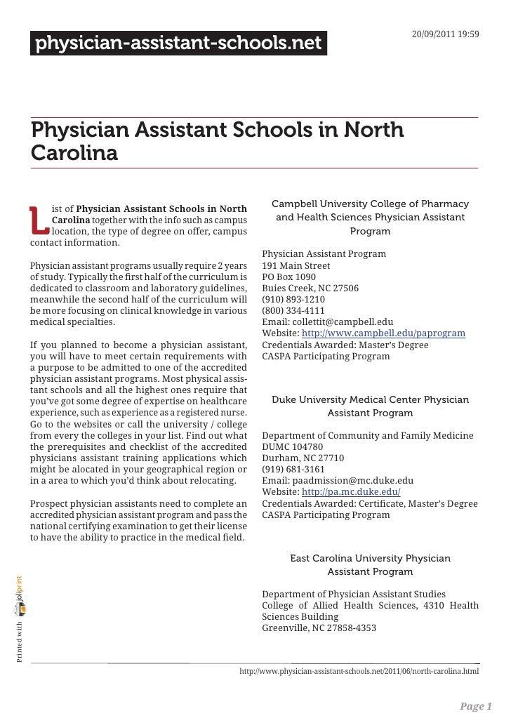 Physician assistant schools in north carolina