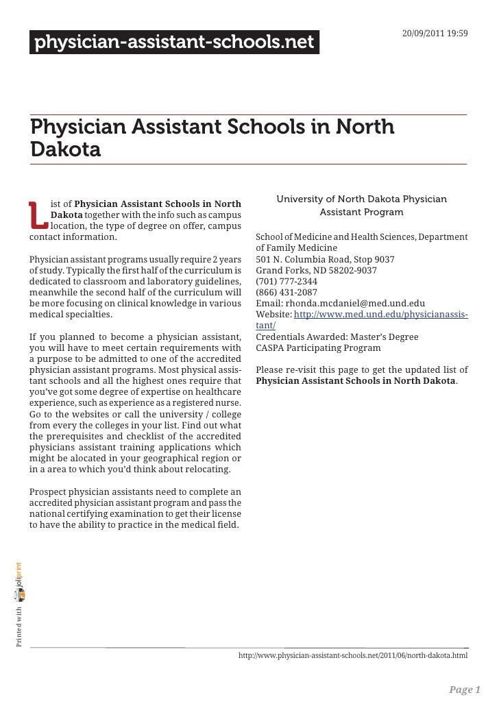 Physician assistant schools in north dakota