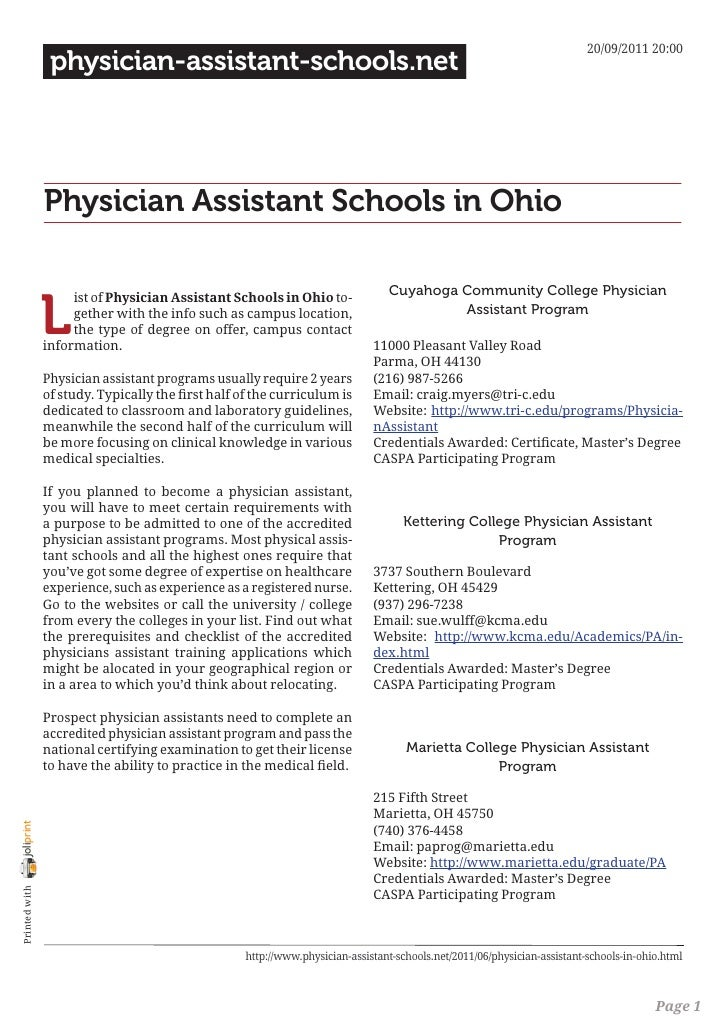 Physician assistant schools in ohio