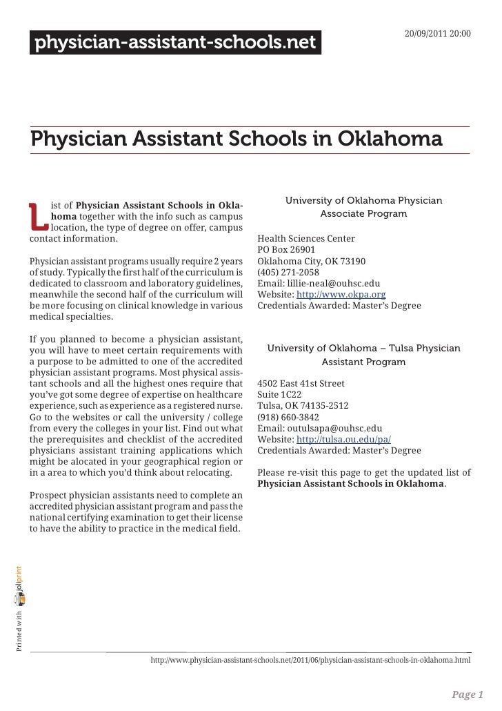 Physician assistant schools in oklahoma