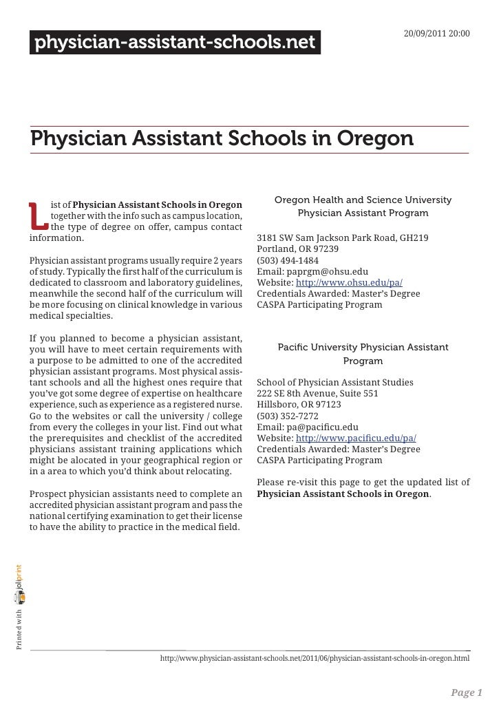 Physician assistant schools in oregon