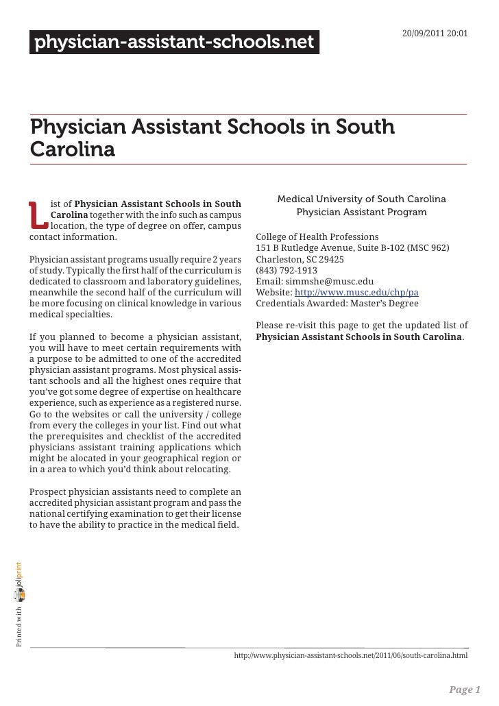 Physician assistant schools in south carolina