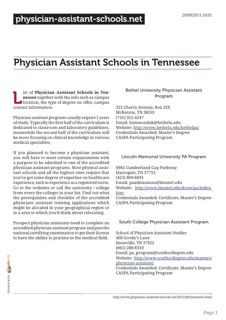 Physician assistant schools in tennessee