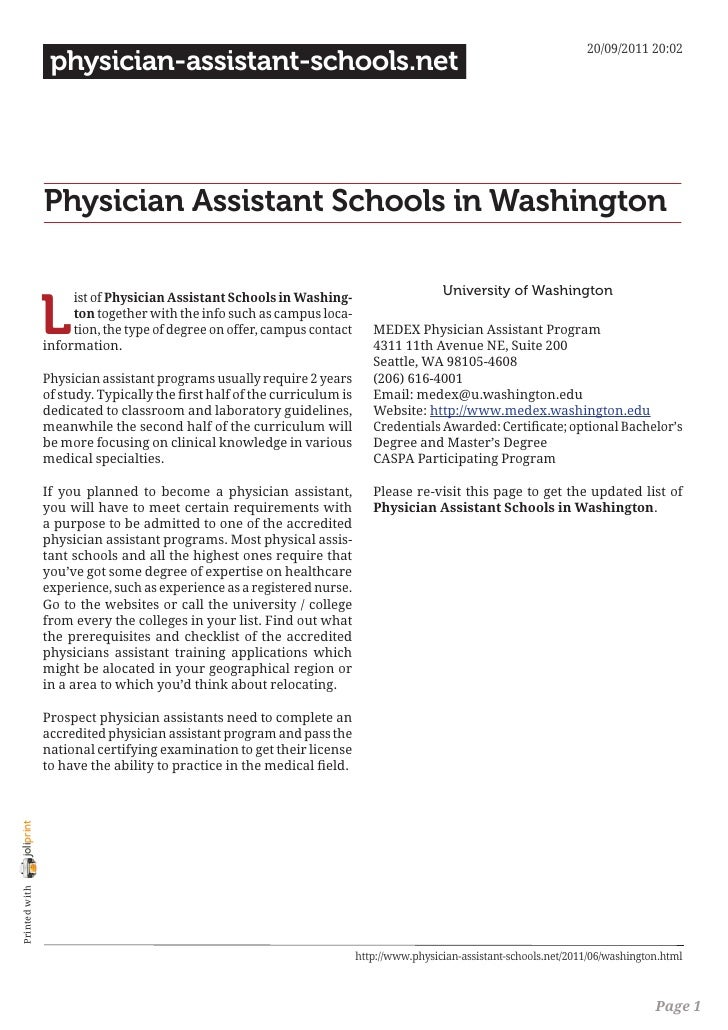 Physician assistant schools in washington