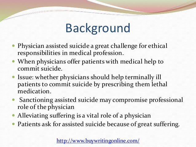 "assisted suicide thesis statements Home / blog / samples / research paper samples / euthanasia research paper tips and sample  restate the thesis statement and  (""the right to assisted suicide ."