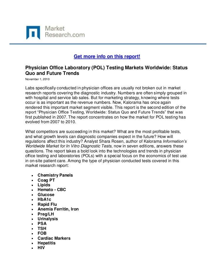 Physician Office Laboratory (POL) Testing Markets Worldwide