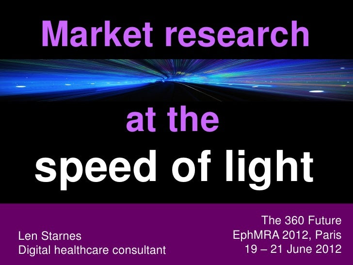Market research                    at the   speed of light                                     The 360 Future Len StarnesL...