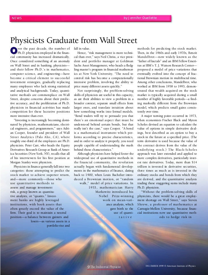 Physicists graduate from wall street