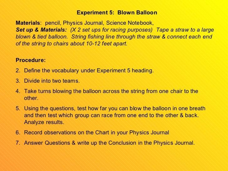 Physics Balloon Experiment Experiment 5 Blown Balloon