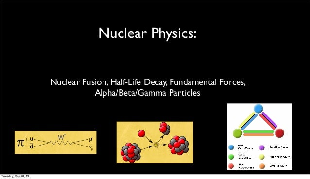 Nuclear Physics:Nuclear Fusion, Half-Life Decay, Fundamental Forces,Alpha/Beta/Gamma ParticlesTuesday, May 28, 13