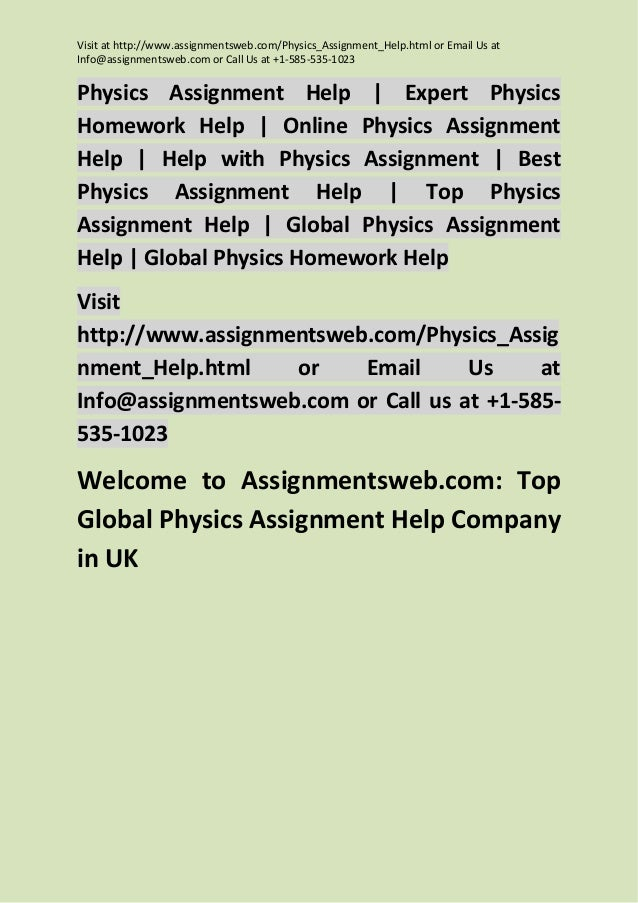 Physics homework help online
