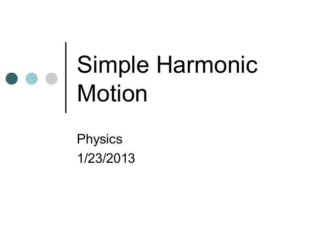 Simple HarmonicMotionPhysics1/23/2013