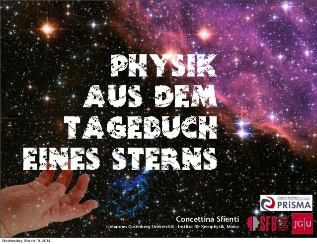 Physik aus dem Tagebuch eines Sterns Concettina Sfienti Johannes Gutenberg-Universität - Institut für Kernphysik, Mainz We...