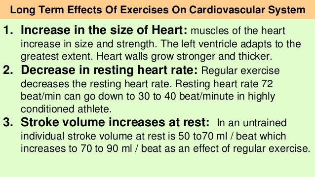 the effect of exercise on the According to a report by the british broadcasting corporation report, the effects of exercise on your various body systems are felt both immediately and.
