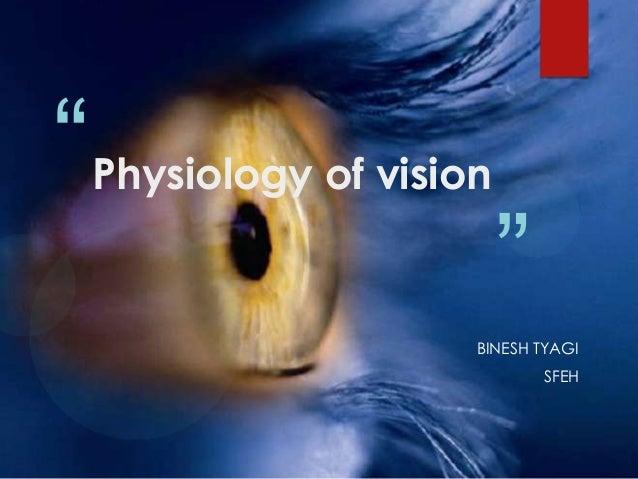 """   Physiology of vision                           ""                       BINESH TYAGI                               SFEH"