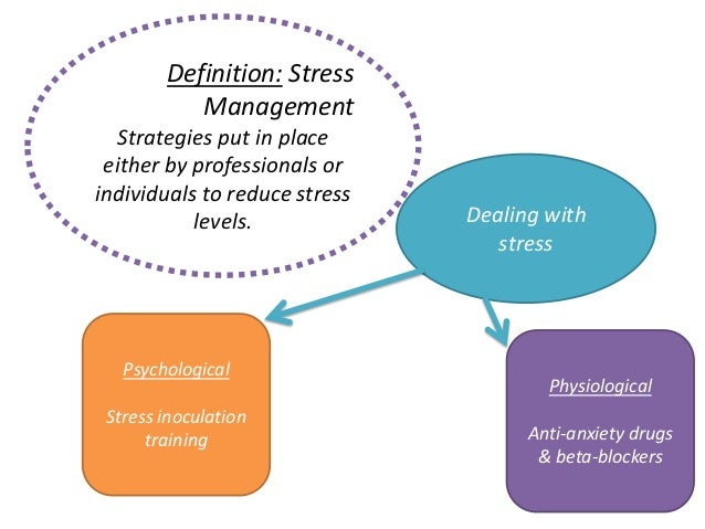 Definition: StressManagementStrategies put in placeeither by professionals orindividuals to reduce stresslevels. Dealing w...