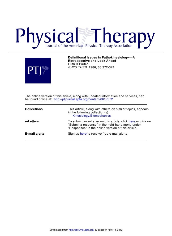 Definitional Issues in Pathokinesiology−−A                                  Retrospective and Look Ahead                  ...