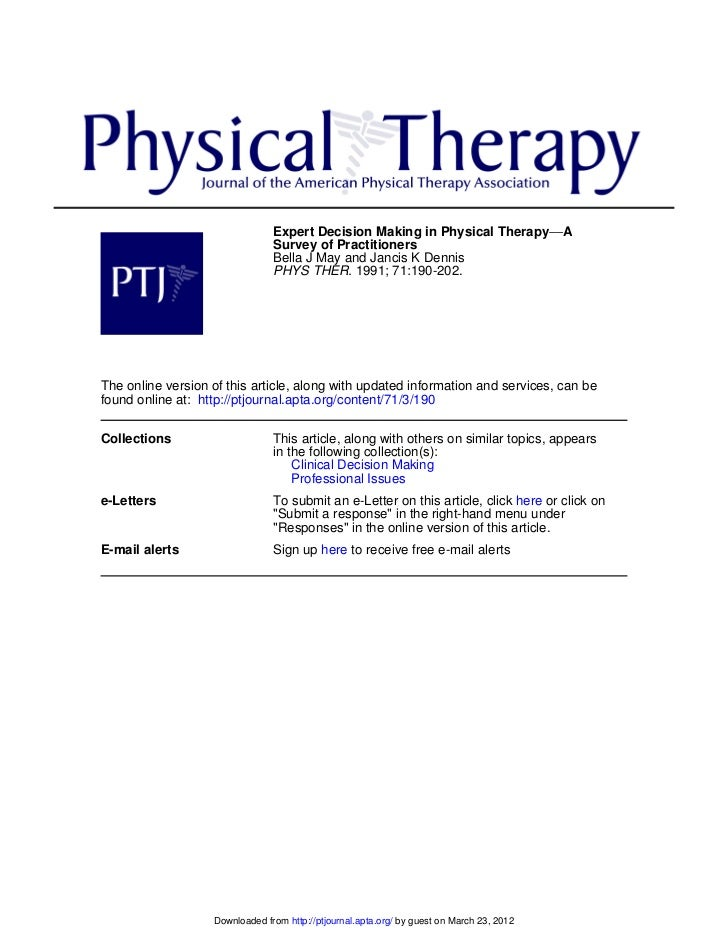 Expert Decision Making in Physical Therapy−−A                                Survey of Practitioners                      ...