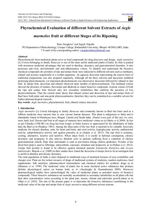 Phytochemical evaluation of different solvent extracts of aegle marmelos fruit at different stages of its ripening