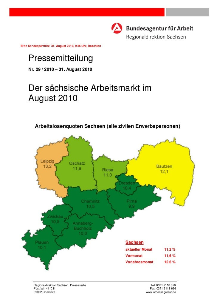 Bitte Sendesperrfrist 31. August 2010, 9.55 Uhr, beachten     Pressemitteilung     Nr. 29 / 2010 – 31. August 2010     Der...
