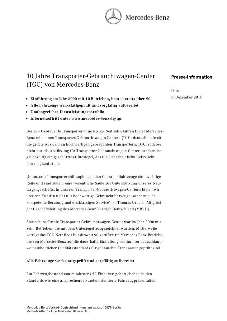 10 Jahre Transporter-Gebrauchtwagen-Center                                       Presse-Information(TGC) von Mercedes-Benz...